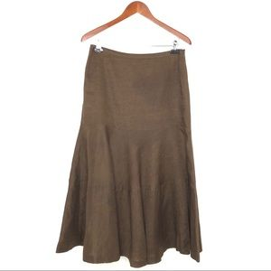 Ann Taylor midi linen brown skirt Sz 6